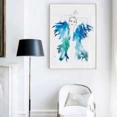 Blue feathers by Mekel.net/shop large watercolour ART Print