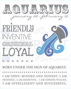 AQUARIUS Zodiac Giclée Art Print // N-Z04-1PS by PaperRamma