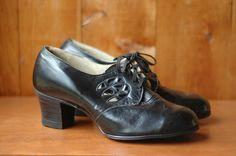 vintage NOS 1940s shoes / 40s black leather by honeytalkvintage, $100.00