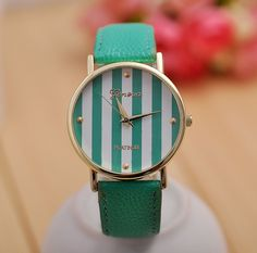 -Leather banded watch with striped face plate