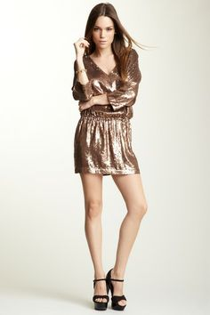 Haute Hippie V-Neck Embellished Sequin Dress