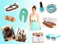 """""""Brown, Light Blue and White"""" by hannah-lawrick ❤ liked on Polyvore"""