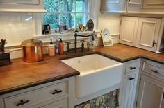 Love Apron sinks and wood countertops. Kitchen Ideals, Concrete Countertops, Kitchen Remodel, Cabin Kitchens, Home Decor Kitchen, Kitchen Dining Living, Countertops, Beautiful Kitchens, Cement Counter