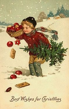 love the colors in this vintage Christmas card