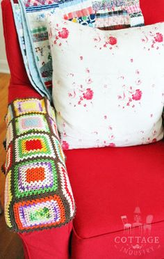 Granny square armrest covers