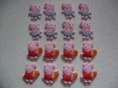 16 peppa and george pig edible cake/cupcake toppers