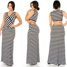 Striped CrissCross Maxi Dress $45