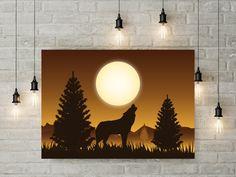 Poster Prints, Art Prints, Wolf Howling, Printable Wall Art, Your Space, Handmade Items, Wall Lights, Digital Art, Printables