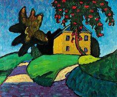 Gabrielle Münter, Yellow house with apple tree on ArtStack #gabrielle-munter #art