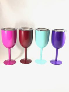 10 oz. Vacuum Insulated Double Wall Stainless Steel Long Stem Wine Glass with Lid, built like YETI® Rambler cups, but in a wine glass style.   Custom powder coated in the color of your choice.  You can also add your monogram or a sparkle coat or both.  If you like, your monogram can be applied after the cup is coated and then a clear coating will be put on which will seal the monogram permanently to the cup. This is done for extra protection to the monogram.  Powder coating is a high quality…