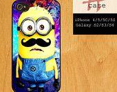 minion galaxy mustache iPhone 4/4S case iPhone 5 case Samsung Galaxy S3 case Samsung Galaxy S4 case