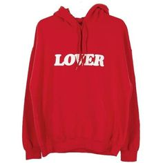 BIANCA CHANDON (biancasciandon) LOVER PULLOVER HOODIE (765020 PYG) ❤ liked on Polyvore featuring tops, hoodies, sweaters, jumper, pullover top, red top, red pullover and sweater pullover