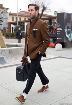 Shop this look for $373:  http://lookastic.com/men/looks/blazer-and-pocket-square-and-gloves-and-dress-pants-and-socks-and-derby-shoes/580  — Tobacco Wool Blazer  — White Pocket Square  — Brown Leather Gloves  — Navy Dress Pants  — White Socks  — Brown Suede Derby Shoes