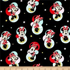 Disney Minnie Traditional Minnie Mouse Badges Black from @fabricdotcom  From Springs Creative Group and licensed by Disney, this cotton print fabric is perfect for quilting, apparel and home decor accents. Due to licensing restrictions, this item can only be shipped to USA, Puerto Rico, and Canada. Colors include black, red, aqua, yellow, beige, and white.