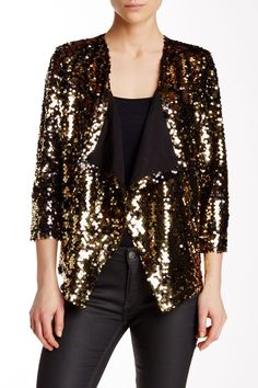 Sequins sparkle like gold atop this on-trend front drape jacket, perfect to add a little glam to an outfit!