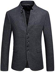 online shopping for Mandarin Collar Blazer Jacket Men Smart Casual Wool Tweed Sports Jackets Slim Fit from top store. See new offer for Mandarin Collar Blazer Jacket Men Smart Casual Wool Tweed Sports Jackets Slim Fit Stylish Mens Fashion, Big Men Fashion, Mens Fashion Suits, Fashion Hats, Mens Suits, Fashion Trends, Oversized Fashion, Mandarin Collar Jacket, Smart Casual Men