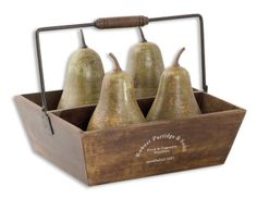 Uttermost Set of 5 Decorative Pears In Basket has a pears are heavily distressed, antiqued green with copper undertones and metal details. Basket Is A Light Brown Wood With Ivory Writing And A Matte Black Metal Handle. Decorative Objects, Decorative Accessories, Home Accessories, Decorative Accents, Decorative Plates, Basket Decoration, Table Decorations, Centerpieces, Pots