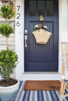 Front Porch Ideas for Summer and Designing the Outdoors. Find even more entryway front porch decor inspiration at my webpage. Front Porch Ideas for Summer and Designing the Outdoors. Door Paint Colors, Front Door Colors, Blue Front Doors, Blue Doors, Front Door Entrance, House Front Door, Cottage Style Front Doors, Front Door Numbers