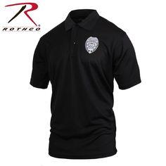 23f4178044e352 Mens Black SECURITY Print Badge Moisture Wicking Lightweight Polo Golf Shirt