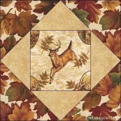 Deer Quilt Patterns | Deer Fawn Buck Fabric Wildlife Quilt Top Kit Blocks Fussy Cutter Quilt ...