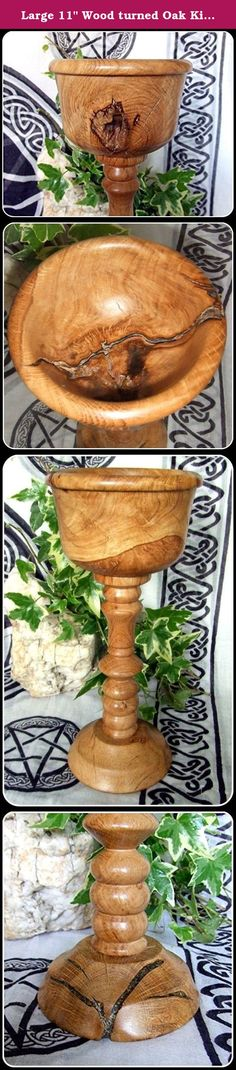 """Large 11"""" Wood turned Oak King Chalice handcrafted from Oak Offering Goblet. Unique woodturned Chalice handcrafted from solid Oak This piece has fabulous markings, some in burr, its grain pattern and colour constantly changing Some of the natural cracks particularly in the base have been strengthened and enhanced by adding Irish Bog Oak and form part of its true beauty. This Chalice would look wonderful on your Altar or in a special place in your home. The Oak King as the Sun God rules…"""