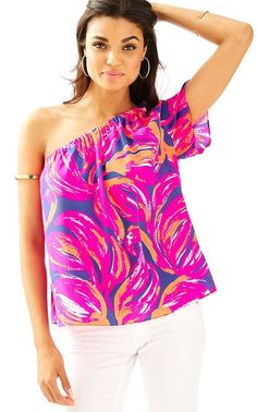 4017117e5e5bf3 Lilly Pulitzer Fifer One Shoulder Silk Top Bomber Blue Plume Bloom Size Xs.  for sale online   eBay