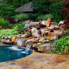 This is another Custom Waterfall Pool design we installed. I really love this feature. Natural Swimming Pools, Pool Designs, Ponds, Waterfall, Landscaping, Gardening, Patio, Outdoor Decor, Nature