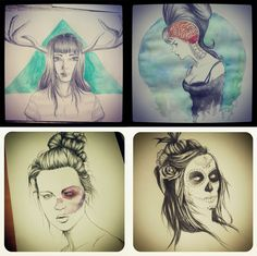 Drawings I made for college.  They are versions of famous Illustrators or photographers.