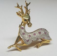 Vintage 18K GOLD over STERLING SILVER DEER BROOCH / PIN Genuine Ruby Stone
