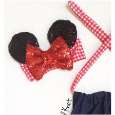 Country Minnie Mouse Ears Bow on Red Gingham Headband (€22) ❤ liked on Polyvore featuring accessories, black, hair accessories and headbands & turbans