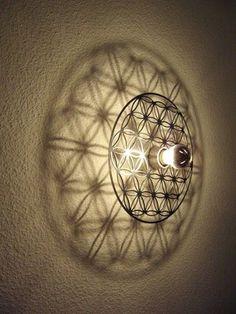 Lamp Flower of Life --> Great tools for light-workers. Flower of Life… Light Art, Lamp Light, Lamp Design, Lighting Design, Yoga Studio Design, 3d Laser, Humming Bird Feeders, Flower Of Life, Dremel