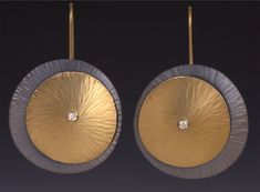 Maria Samora - from the Seashell Collection. 18k gold & sterling silver oxidized earrings with diamonds