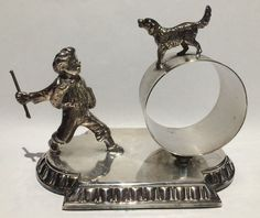 Antique Silverplate Figural Napkin Ring WMF Boy with Dog #WMF