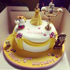 Beauty & The Beast Cake Beauty And The Beast Cake Birthdays, Beauty And Beast Birthday, Beautiful Cakes, Amazing Cakes, Fondant Cakes, Cupcake Cakes, Bolo Artificial, Bolo Fack, Belle Cake