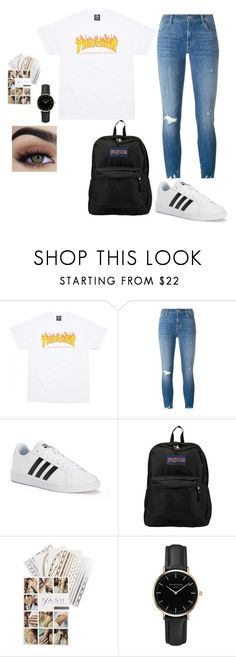 """""""Traveling"""" by kennadee-garvin ❤ liked on Polyvore featuring J Brand, adidas, JanSport, Flash Tattoos and ROSEFIELD"""