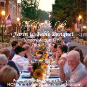 Farm to Table Banquet, Nevada City, Commerical Street, benefit for the Nevada City Boardwalk Music Fun, Sunday, August 11th, 7-11pm