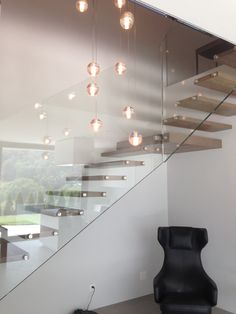 Floating corner stairs with supporting landing; find more floating stairs at www.stairs-siller.com Modern Staircase, Staircase Design, Spiral Staircases, Glass Stairs, Floating Stairs, Cantilever Stairs, Staircase Remodel, Painted Stairs, Interior Decorating