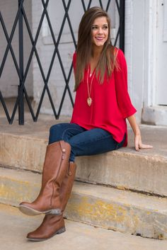 Simply Classic Blouse, Red from The Mint Julep Boutique