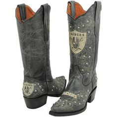 Oakland Raiders Womens Crystal Accent Cowboy Boots - Black