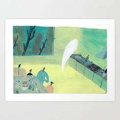 Art print to buy #ilustration #ghost #green #hamtzcurator #decoration for children room.