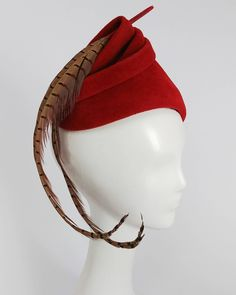 e86577596ca 1940s Red Felt Surrealist Hat with Pheasant Feather