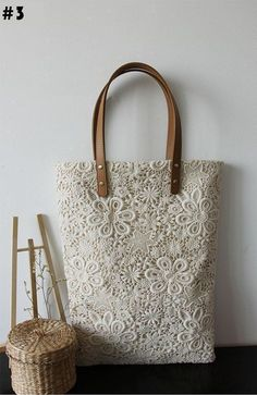 Handmade Shabby Chic Cotton Wedding Bag, Lace Bag, Lace Tote, Vintage Style, Ivory/Off White, Make to Order, L021