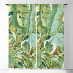 Golden Royal White and Blue-green Peacock Feathers Blackout Curtain by justkidding #BlackoutCurtain #graphicdesign #leaves #peacockfeathers #green #darkgreen