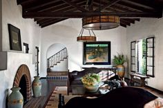 Lovely Spanish Style Sitting Room in Actress Diane Keaton's California Home. Love.
