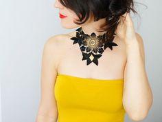 NECKLACE // Arta // Handmade Statement Black Gold Yellow Lace Collar Necklace Applique Blouse Golden Brass Accessories Bib Necklace Gold