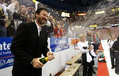 Mario Lemieux celebrating another Stanley Cup win.