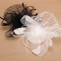 Sale 10% (7.88$) - Bride Women Dot Black White Feather Mesh Fascinator Wedding Party Headpieces