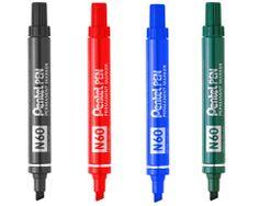 PENTEL PEN N60. Pentel Pen Permanent Marker N60. Marcador de punta cincelada con tinta permanente resistente al agua. Rojo, Negro, Azul o Verde.