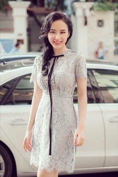 Đầm ren xám dây nơ ngắn tay cao cấp đẹp như phương trinh