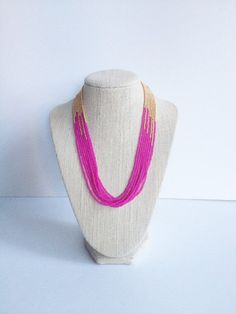 Pink and gold seed bead necklace https://www.etsy.com/listing/205448158/hot-pink-and-gold-necklace-seed-bead